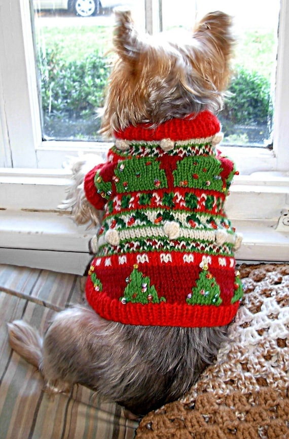 Christmas Trees Beaded Fair Isle Dog Sweater Knitting Pattern