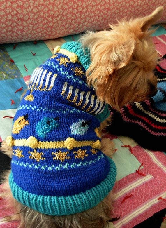 O HANUKKAH Hand Knitted DOG SWEATER Sample Jewish Holiday Chanukah Fair Isle