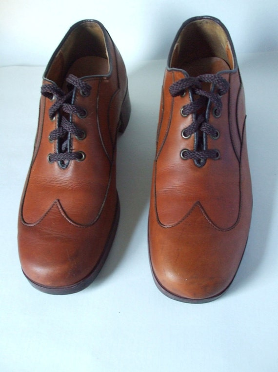 Mens Wing Tip Leather Special Detail Cut Oxford Shoes 7 1/2