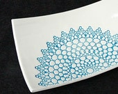 Blue and White Lace Doily Design Handmade Ceramic Pottery Soap Dish Plate - madhatterceramics