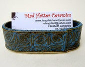 Blue Textured Tin Roof Handmade Ceramic Pottery Business Card Holder