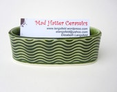 Green Textured Wavy Handmade Ceramic Pottery Business Card Holder