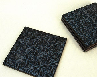 Dark Blue Textured Tin Roof Handmade Ceramic Pottery Coffee Cup Mug Coasters - Set of 2