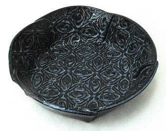 Dark Blue Small Textured Tin Roof Handmade Ceramic Pottery Serving Bowl