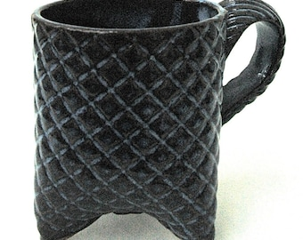 Dark Blue Textured Plaid Handmade Ceramic Pottery Coffee Mug - 10 oz size