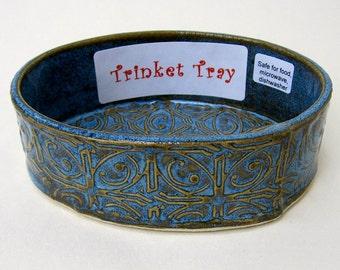 Blue Textured Tin Roof Handmade Ceramic Pottery Trinket Tray Dish