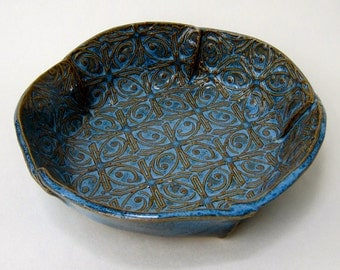 Medium Blue Textured Tin Roof Handmade Ceramic Pottery Serving Bowl