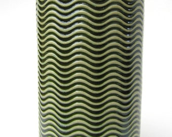 Green Textured Wavy Handmade Ceramic Pottery Utensil Holder Flower Vase