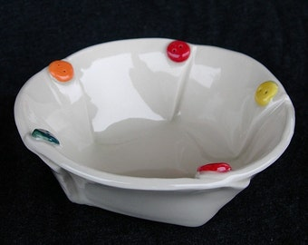 Medium White Colorful Painted Button Ceramic Pottery Serving Bowl