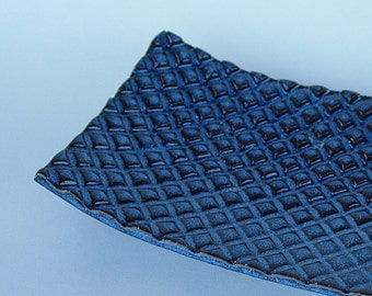 Dark Blue Textured Plaid Handmade Ceramic Pottery Soap Dish Plate
