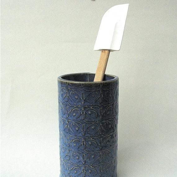Blue Textured Tin Roof Handmade Ceramic Pottery Flower Utensil Holder Vase