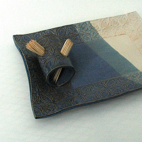 Blue and White Textured Tin Roof Handmade Ceramic Pottery Appetizer Serving Toothpick Plate