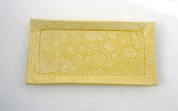Yellow Textured Swirl Ceramic Pottery Butter Dish Plate