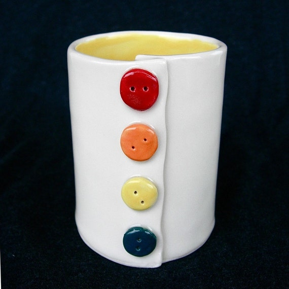 Button Yellow Ceramic Pottery Coffee Mug