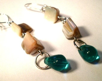 Natural Shell Nugget and Turquoise Teardrop Handmade Dangle Earrings