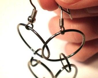 Handmade Metal Ring Dangle Earrings