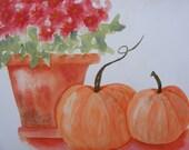 Pumpkins and a Mum-Original Watercolor-Autumn