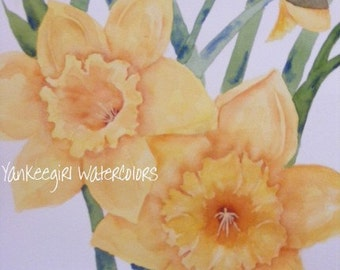 Painting of Daffodils-Floral Art-Original Watercolor Painting of Flowers-Yellow Flowers-Daffodils Painted in Watercolor