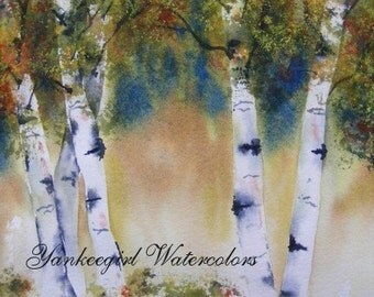 Autumn Birches-Original Watercolor painting