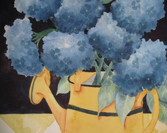 Art, Fine Art-Watering Can Bouquet-Original Watercolor Painting of Blue Hydrangeas in Yellow Watering Can