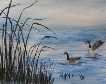 Two If By Sea-Original Watercolor Painting of Geese