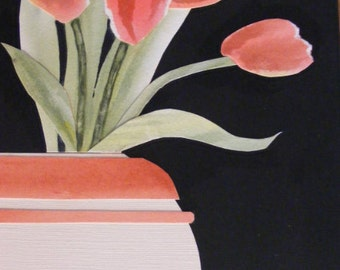 Tulips-Not as They Appear-Original Collaged  Watercolor Painting