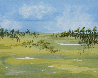 Landscape Painting-Painting of Trees-Original Watercolor Painting of Field, Trees and Sky