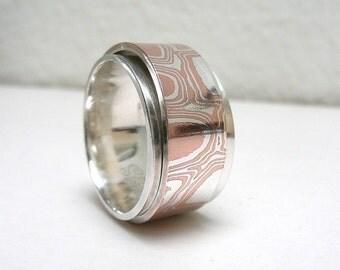 Mokume Gane Sterling Silver Spinner Ring, Worry Ring, Anxiety Ring, Meditation Ring