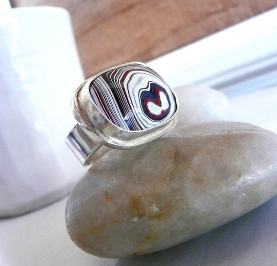Funky Ring -Fordite and Sterling Silver-