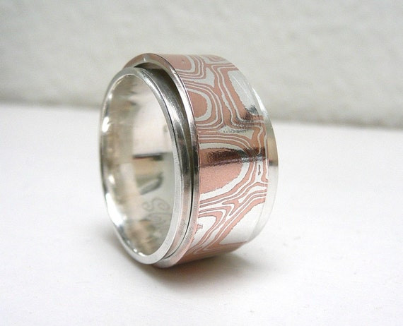 Mokume Gane Sterling Silver Spinner Ring, Worry Ring, Anxiety Ring, Meditation Ring