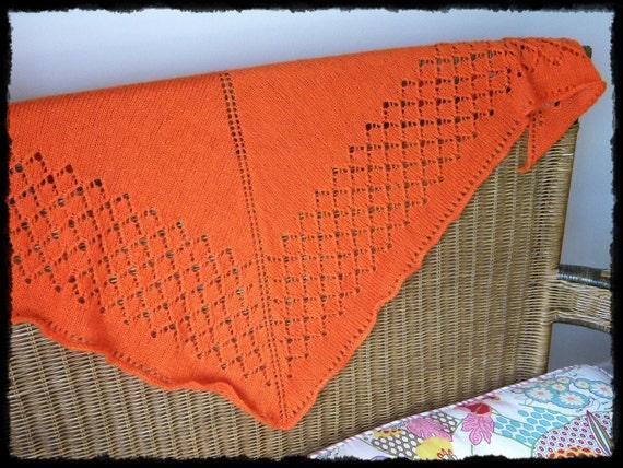 Knit Lace triangular shawl orange diamonds