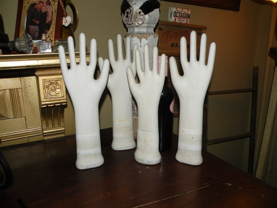small size Vintage Porcelain White Glove Mold - For Jewelry Display or for Art Objects and Funkifying your home for Halloween