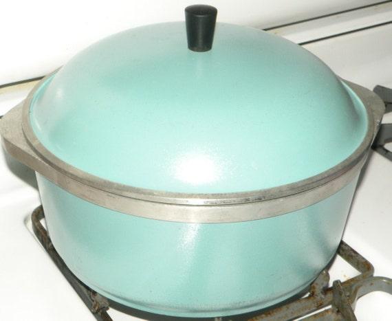 Vintage Club Cookware Turquoise Blue Stock Pot Cast Aluminum