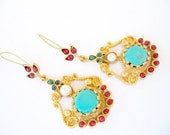 Unique Turquoise and Coral earring