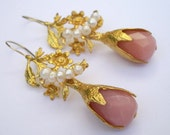 SALE  SALE  SALE-----Pink colored Jade and pearl gold Leaves earring