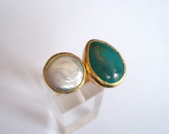 Turquoise And Pearl  dual ring