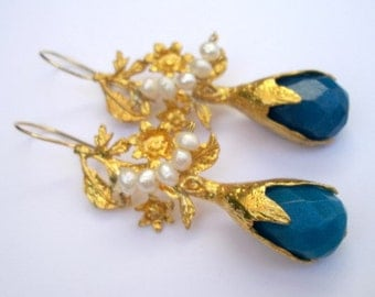 Blue quartz and pearl gold Leaves earring
