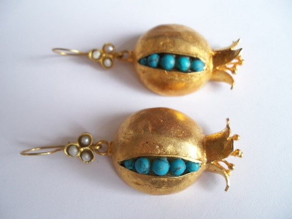 Turquoise Pomegranate earring