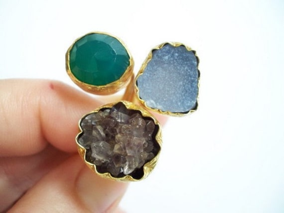 TRIPLE Gold plated Amethyst and White Druzy RING