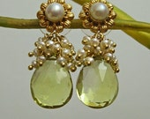 Natural Lemon Golden Quartz-FW Seed Pearl Veiled-24k Gold Vermeil Post Dangle Earrings