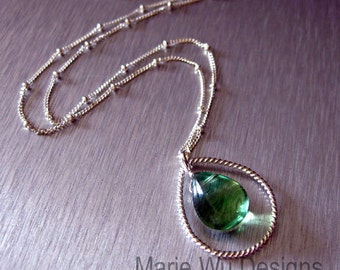 Natural Green Fluorite-Sterling Silver Hoop Pendant Necklace
