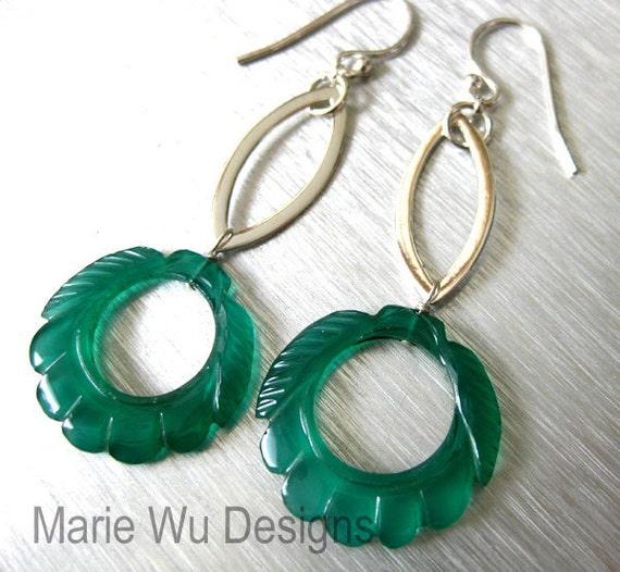 SALE-Carved Green Onyx Hoops-Sterling Silver Long Dangle Earrings