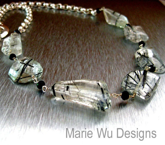 29in-Tourmalated Quartz-Spinel-Chunky Sterling Silver Necklace