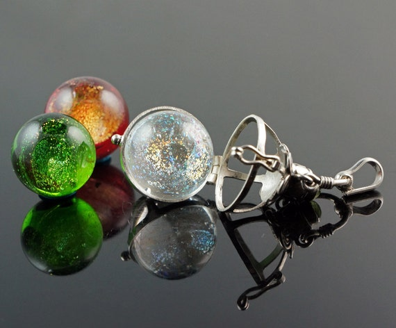 Sterling Silver Sphere Holder Pendant with Three Handmade Dichroic Glass Marbles