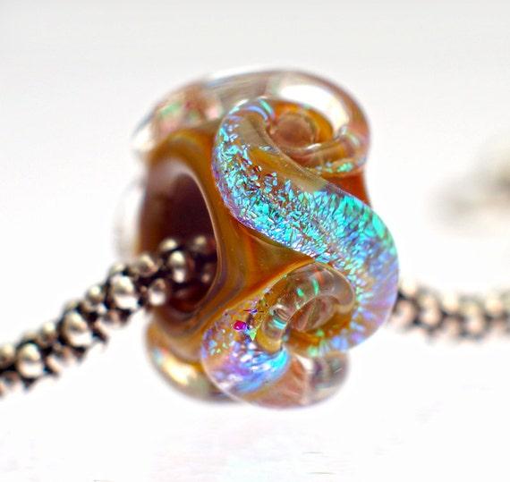 Handmade Lampwork Dichroic Slider Bead fits Pandora, Troll, Biagi, Etc.