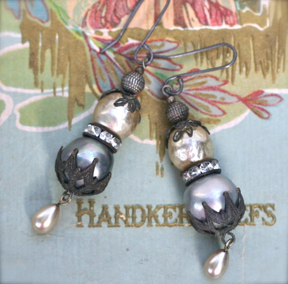 Misty Pearl Earrings- Upcycled Baroque Gypsy Boho Gothic Victorian