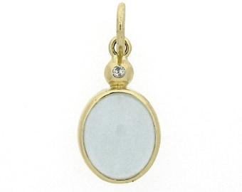 Aquamarine Necklace in 14k gold genuine diamond