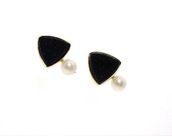 Black Drusy and Pearl Earrings