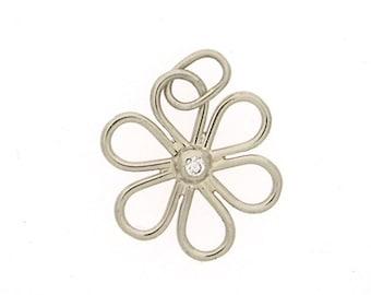 Flower Charm with Diamond in 14k White Gold Diamond Pendant