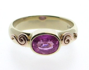 Pink Sapphire Ring Engagement Ring Bezel Set
